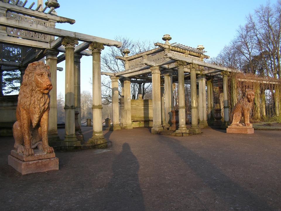 Park, Architecture, Lion, Morning, Sun, Monument