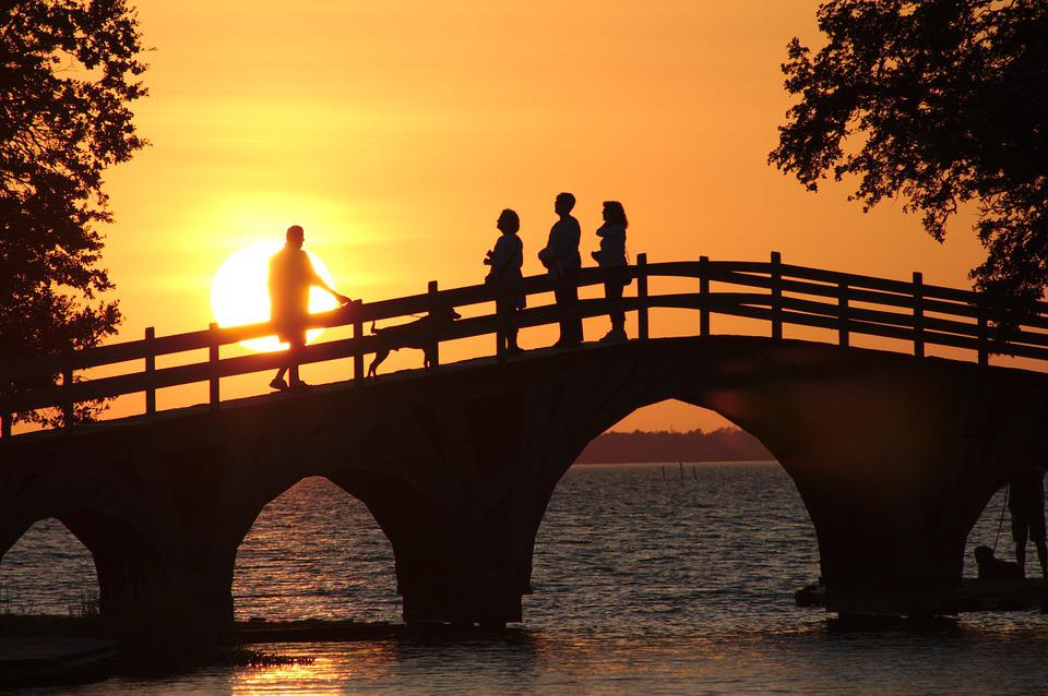 Sunset, Park, Bridge, People, Outdoor, Sun, Sky, Nature