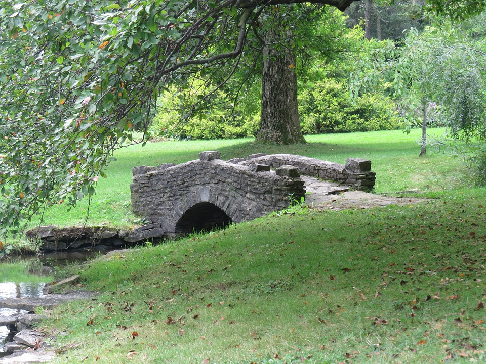 Bridge, Stone, Park, Trees, Grass, Green, Outdoors