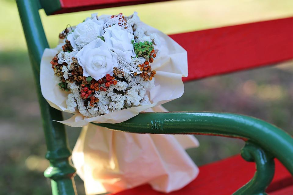 White Flower Bridal Bouquet, Colorful, Red Bench, Park