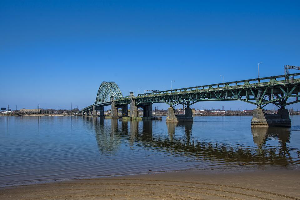 New Jersey, Bridge, Delaware River, Park, Water, Shore