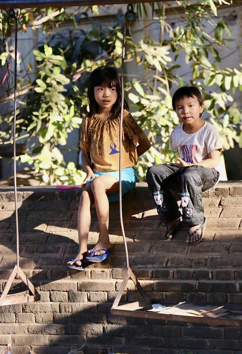 Children, Siblings, Kids, Swings, Park, Sit, Sitting