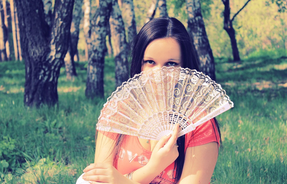 Girl, Park, Fan, Eyes, View, Spring, Photoshoot