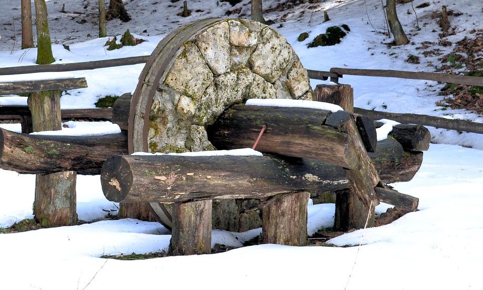 Stone, Kalisz Pomorski, Park, Tree, Winter, Snow