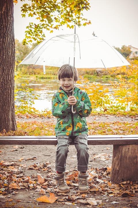 Umbrella, Park, Bench, Boy, Sitting, Baby, Kids, Street