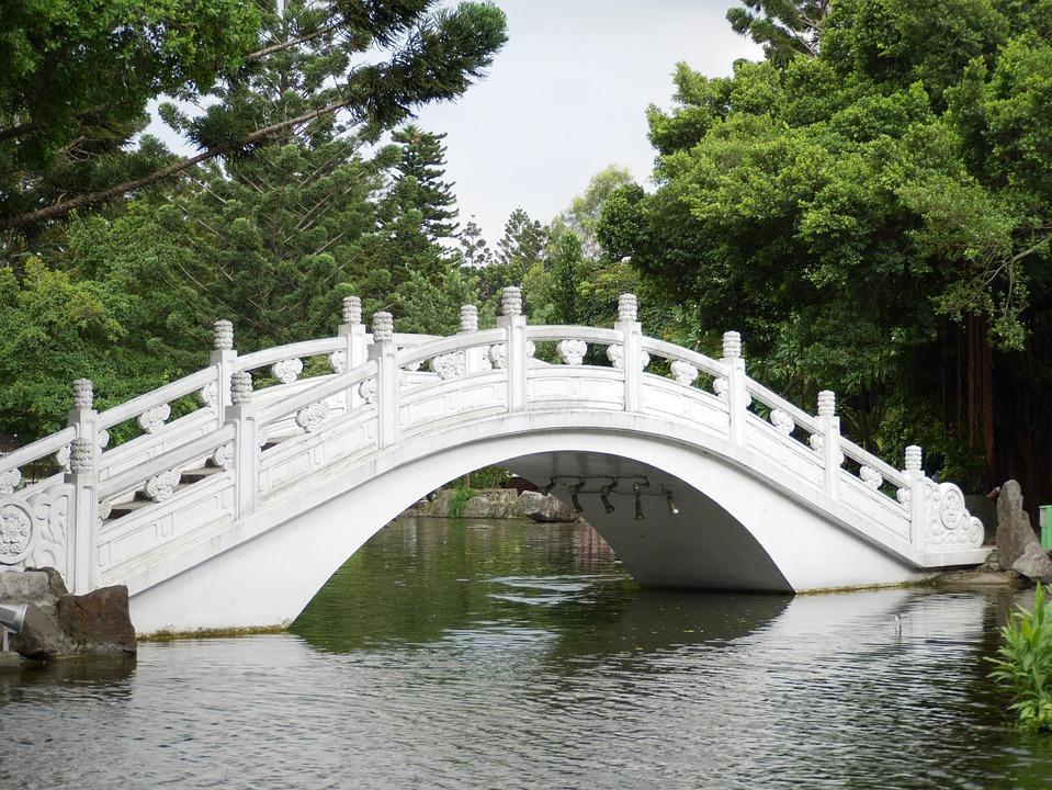 Bridge, Taiwan, Park, Pond, Nature, Water, Chinese