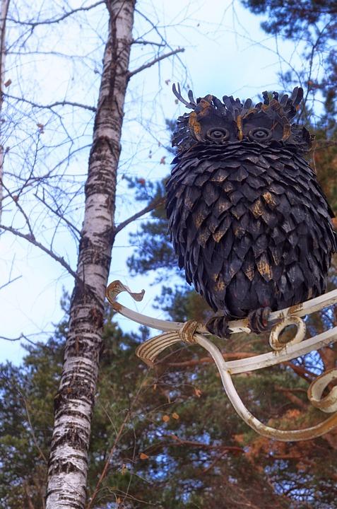Owl, Tree, Sculpture, Trees, Park, Art
