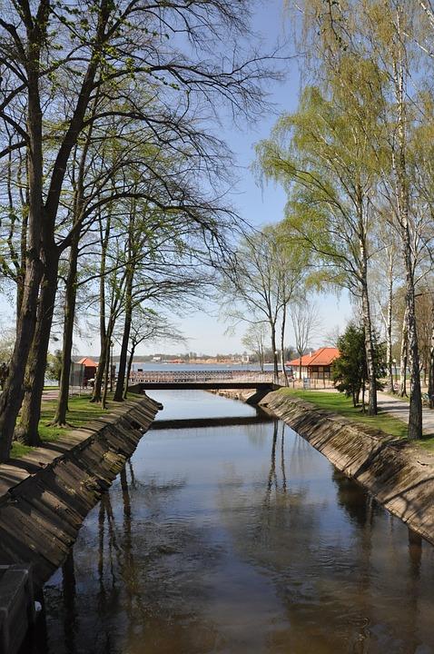 Lake, Park, Tree, Spring, Bridge, The Brook, Ostróda