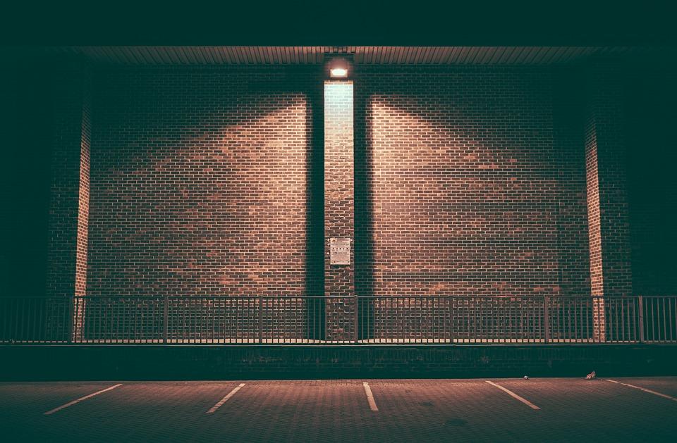 Brick Wall, Empty, Lighted, Night, Parking Area