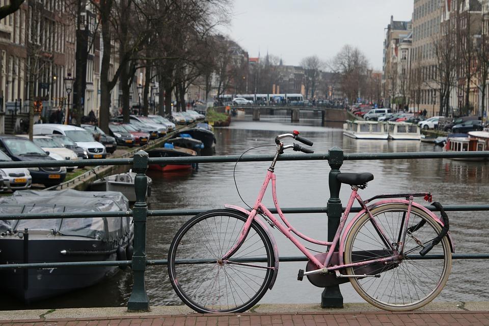Amsterdam, Bike, Bridge, Channel, Handrail, Parking Lot