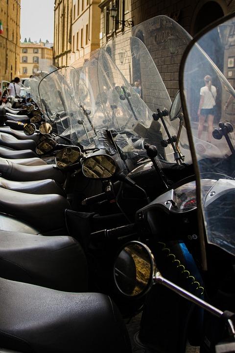Motorbikes, Motorcycles, Parking Lot, Street, Italy