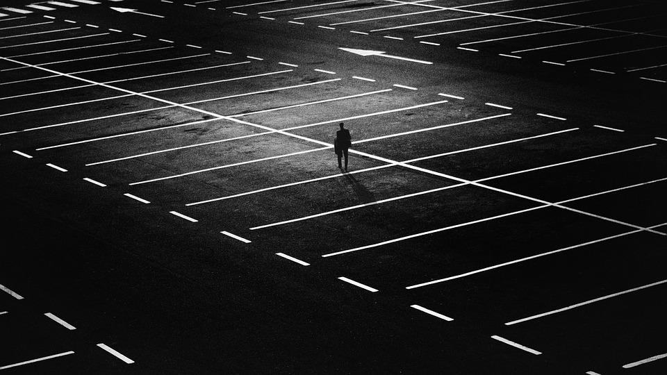 Parking Space, Man, City, Person, Alone, Lonely, Lights