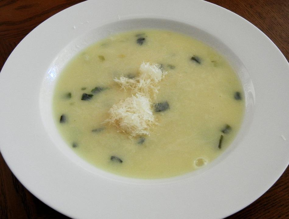 Cream Leak Soup, Parmesan Cheese, Hot, Lunch, Food