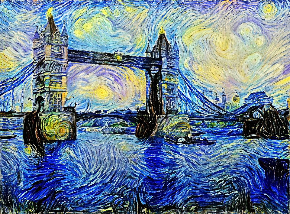 Bridge, Starry Night, Swirl, London, Parody, Spoof