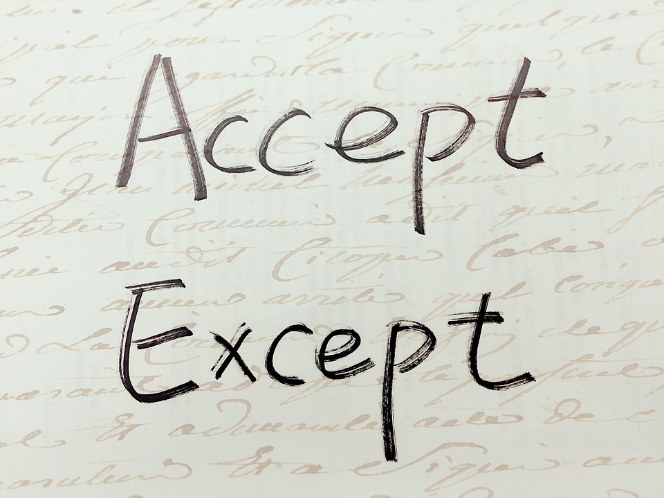 Accept, Except, Handwriting, Paronymous, Similar, Words