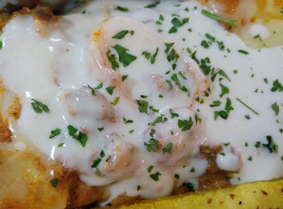 Lasagna, Creamy, Cheesy, Cooked, Parmesan, Parsley