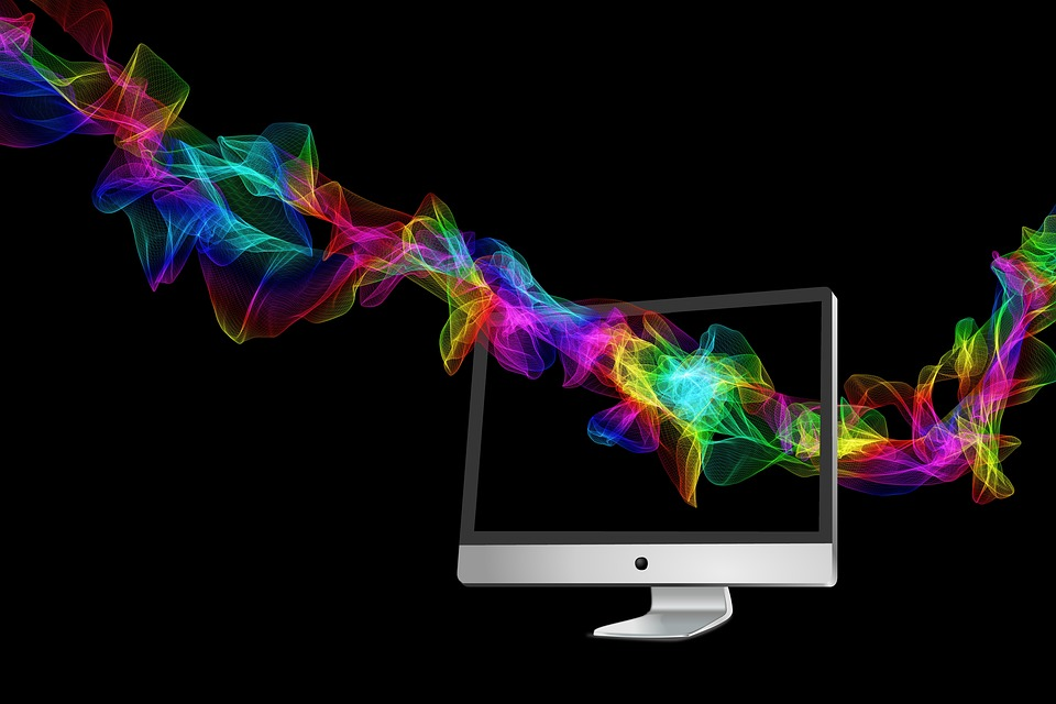 Particles, Color, Colorful, Monitor, Wave, Background