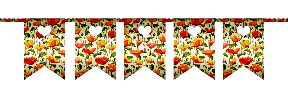 Floral Poppy, Bunting, Banner, Party, Garland