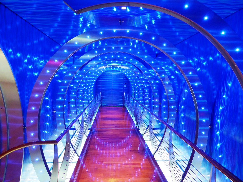 Party, Happy, Cruise, Relax, Tunnel, Lighting, Blue
