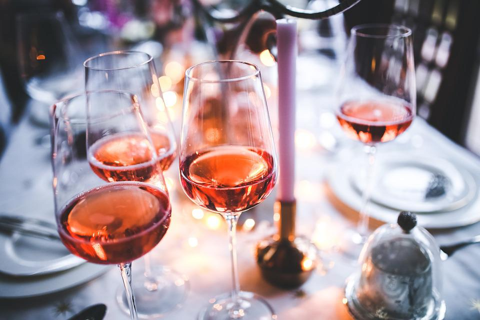 Wine, Rose, Glass, Glasses, Pink, Table, Evening, Party