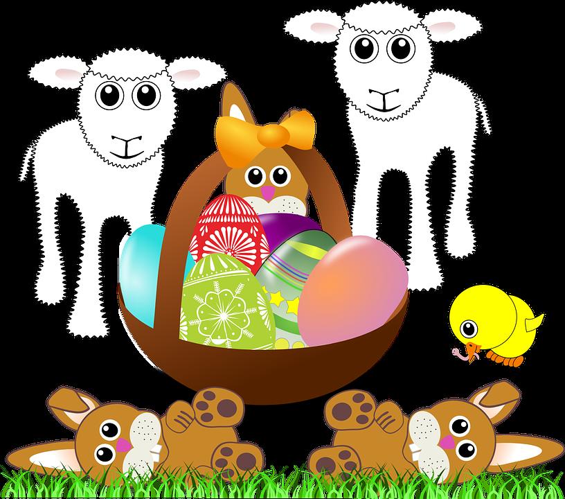 Paschal Lamb, Lamps, Bunnies, Easter Eggs, Basket
