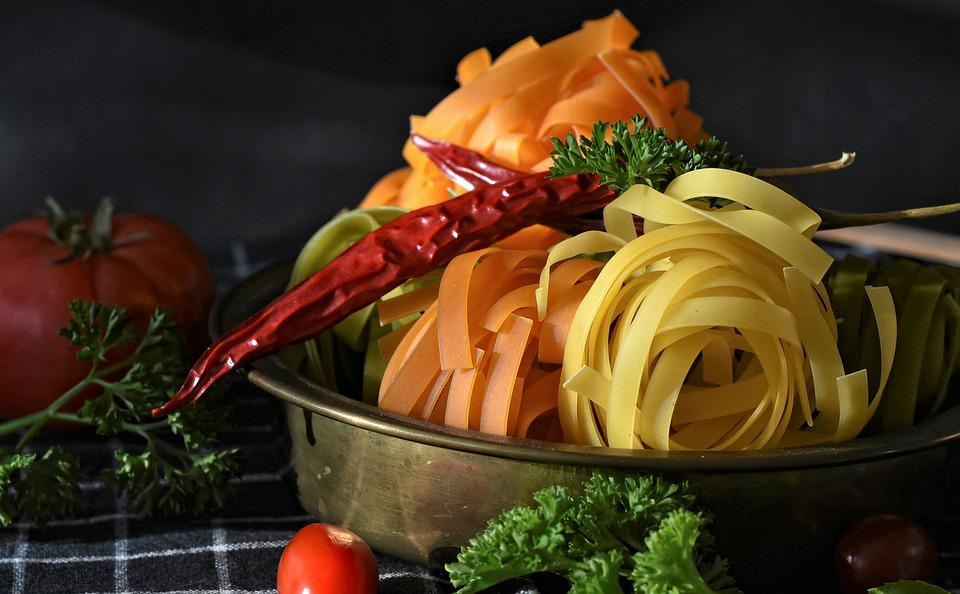 Noodles, Tagliatelle, Pasta, Raw, Colorful, Food