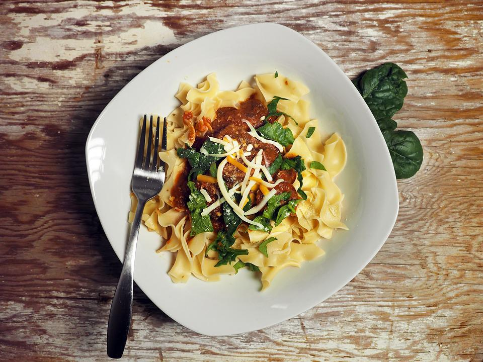Pasta, Sausage, Cheese, Fork, Bowl, White, Spinach