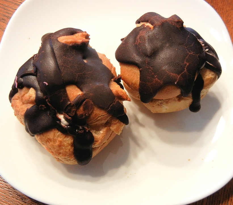 Chocolate Cream Puffs, Pastry, Whipped Cream, Sugar