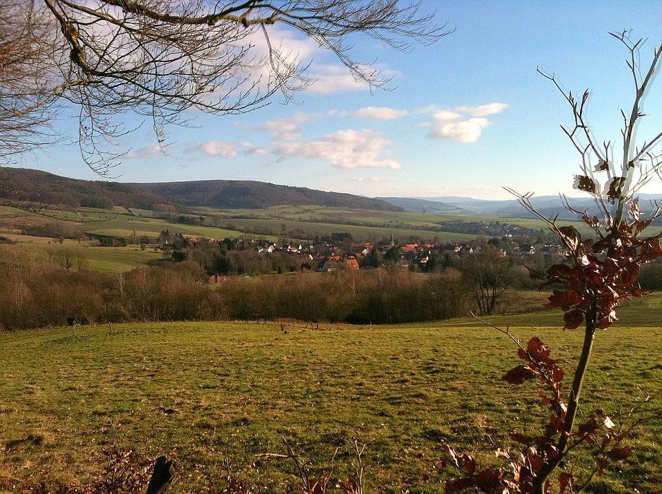 Village, Pasture, Hill