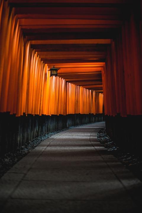 Architecture, Japan, Kyoto, Shinto, Hallway, Path