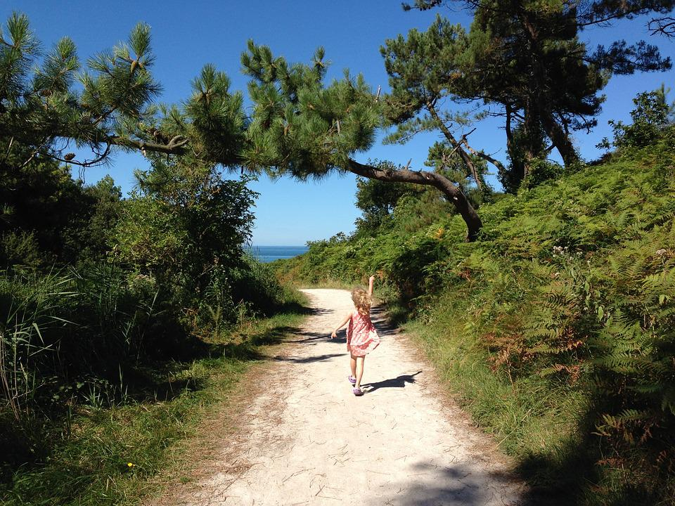 Beach, Path, Holiday, Summer, Child, Marching, March