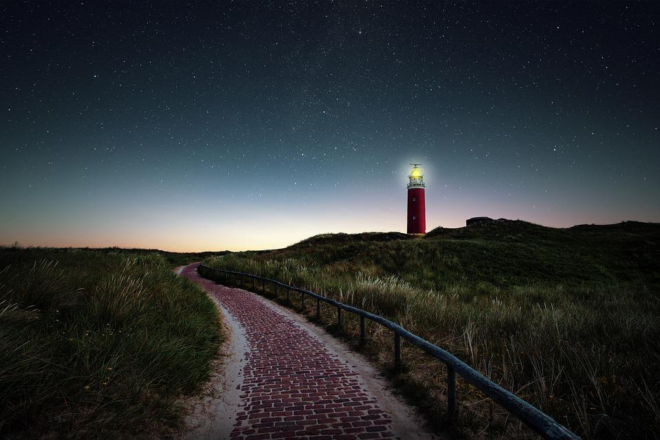 Lighthouse, Field, Night, Evening, Path, Pathway
