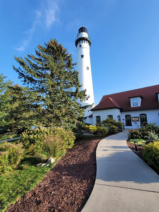 Lighthouse, Trees, Wind, Path, Wisconson, Sky, Point
