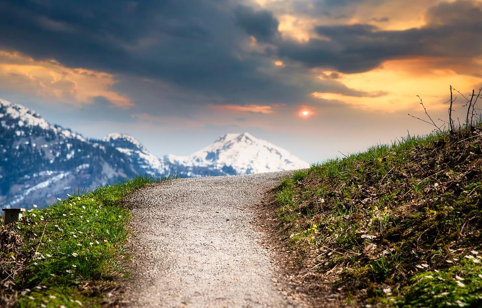 Mountains, Path, Sunset, Trail, Meadow, Landscape