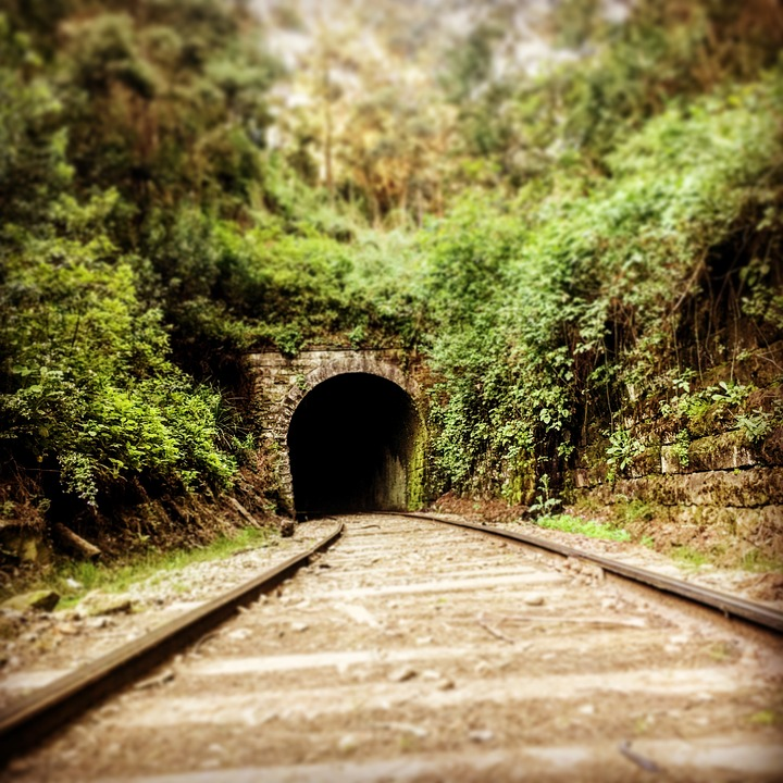Online, Train, Tunnel, Path, Rails, Mountains