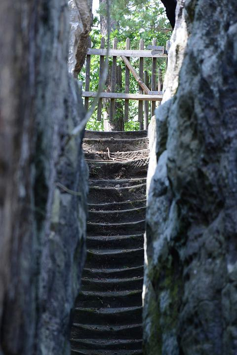 Rock, Stairs, Landscape, Nature, Path, Architecture