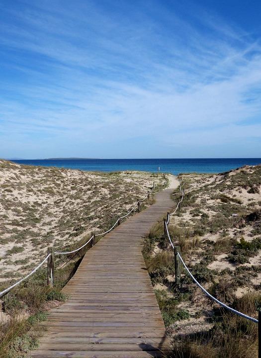 Sea, Dune, Mediterranean, Spain, Away, Beach, Path
