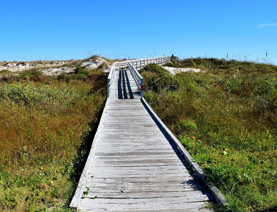 Boardwalk, Walkway, Entrance, Beach, Outdoors, Path