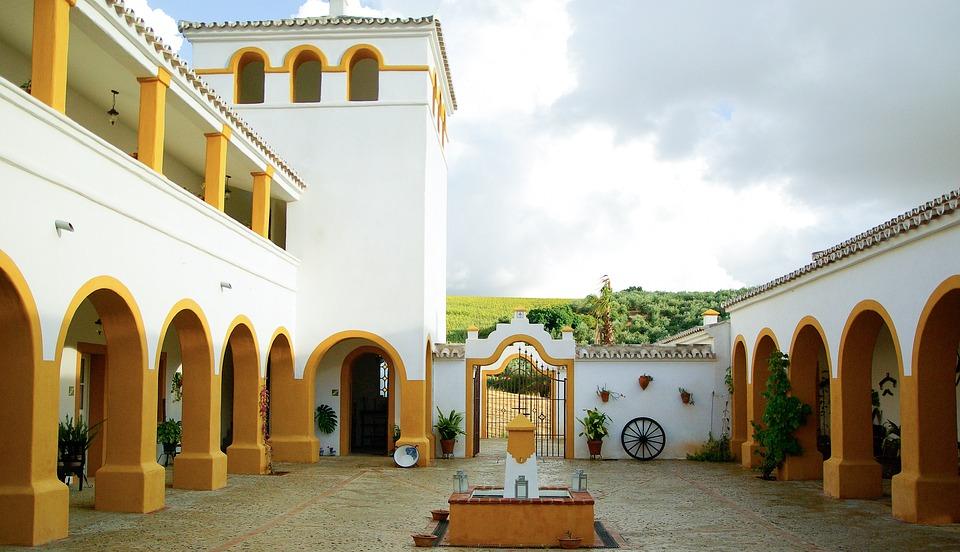 Hacienda, Andalusia, Spain, Patio, Architecture