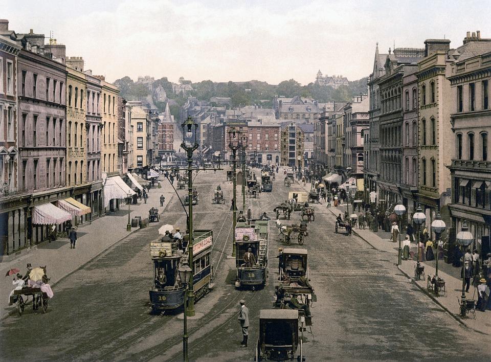 Tram, City, Patrick Street, Cork, Ireland, Photochrom