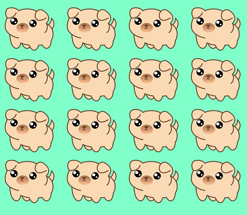 Puppy, Pattern, Wallpaper, Dog, Pet, Pug, Animal