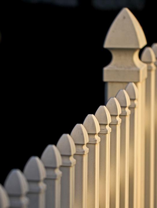 White Picket Fence, Yard, Slats, Geometric, Pattern