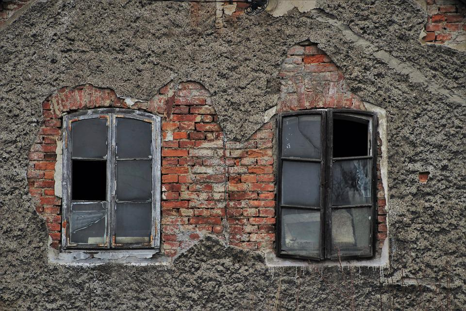 Old Windows, Plaster, Lost Places, Pattern, Window Sill