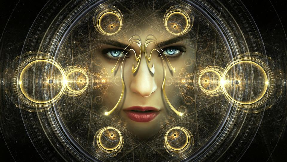 Portrait, Fantasy, Light, Pattern, Woman, Face, Eyes