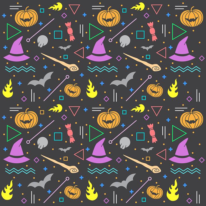 Pattern, Halloween, Bats, Pumpkins, Witch's Hat