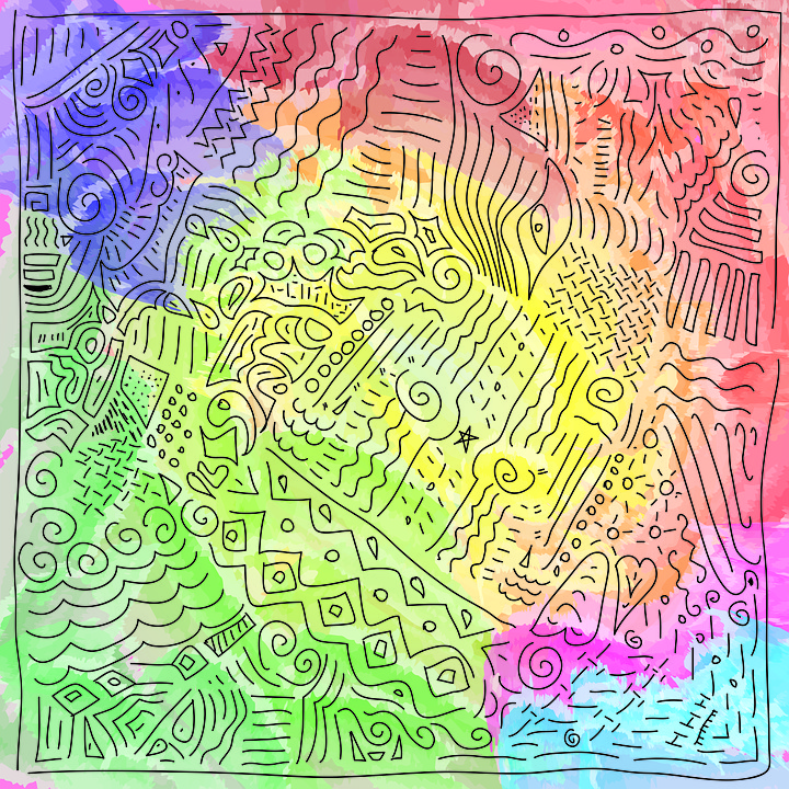 Doodle, Pattern, Abstract, Pink, Purple, Blue, Scribble