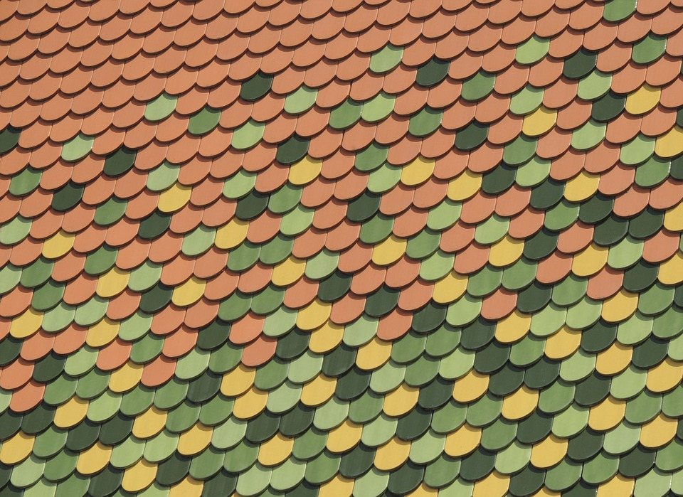 Roof, Shingle, Pattern, Green, Yellow, Red, Contrast