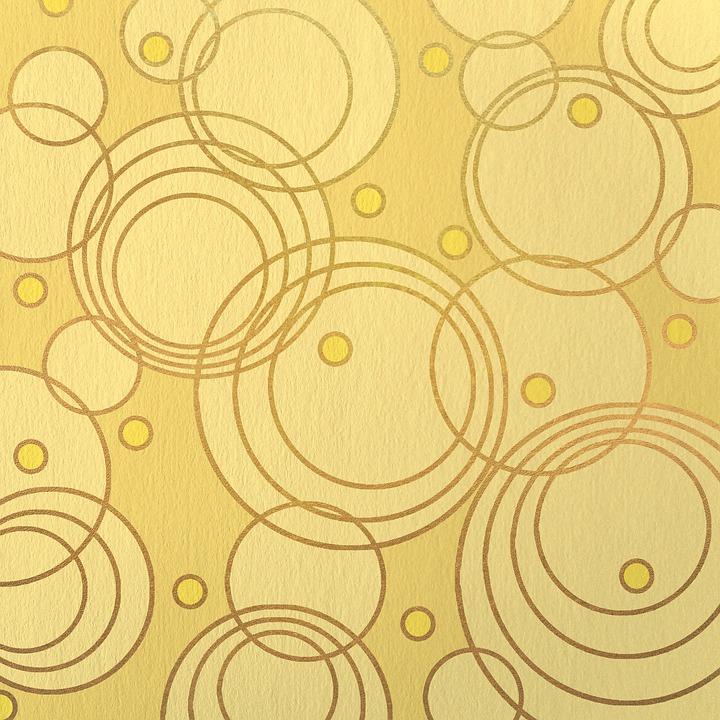 Circles, Pattern, Yellow, Golden, Background