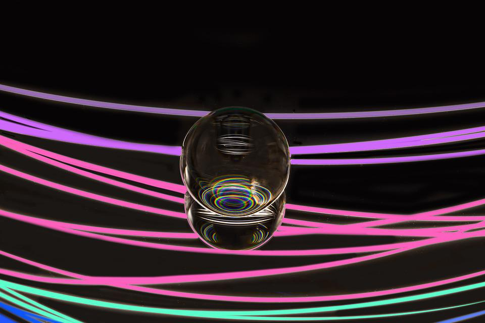 Light Painting, Glass Ball, Pave, Mirroring