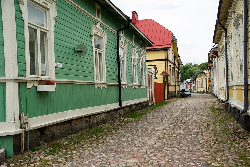 Finland, Rauma, Wooden Houses, Paved Street